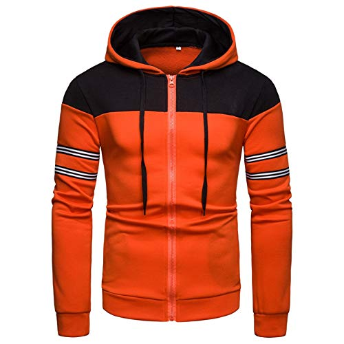 - Men Hoodie, Mens Sport Lightweight Zip-up Hooded Sweatshirt Jacket Coat (2X, Orange)