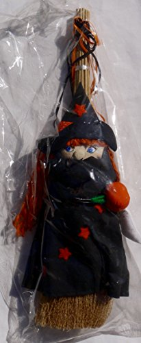 Witch Broom Pumpkin (Decorative Halloween Black Witch on Broom Holding Pumpkin, Ghost and Black)