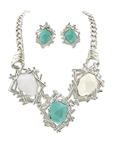 """Chunky Three White Teal Acrylic Beads Silvertone Necklace and Earrings, 20+2"""" (Silvertone)"""