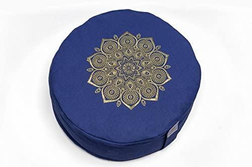 Om Vita 100% Zafu Meditación ecológica con diseño de mandala y funda lavable