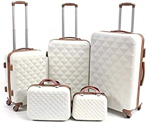 Limra Luggage Trolley Bags set of 5 Pcs, Beige \ Brown, LMA-51