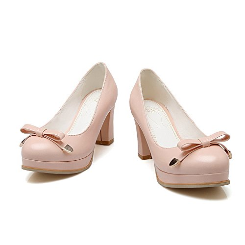 Pull Women's Pumps Pu Heels High Solid On Pink Closed Toe Shoes Round VogueZone009 HwStH