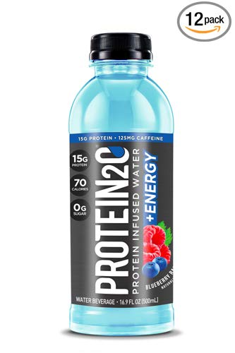 - Protein2o + Energy, Low Calorie Protein Infused Water, 15g Whey Protein Isolate, Blueberry Raspberry