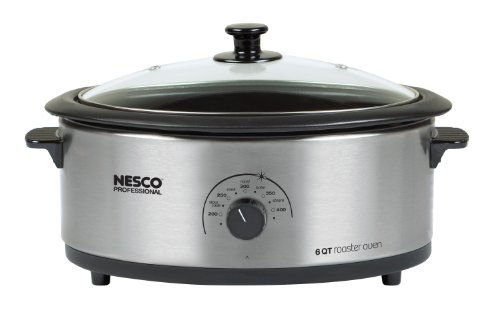 Nesco 4816-25-30PR Professional 6-Quart Stainless Steel Roaster Oven with Glass Cover, Non-Stick Cookwell (Roaster Oven Stainless compare prices)