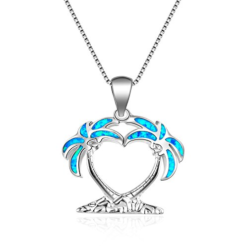 blue Opal Pendant Open Jewelry Heart Palm Tree white gold filled Necklace pendants for women Holiday gift (White Gold Palm Tree Necklace)