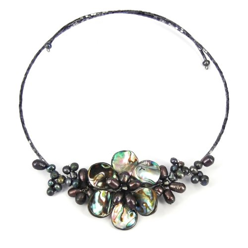 Gradual Flower Cultured Freshwater Black Pearls and Mother of Pearl Cluster Choker Wrap Handmade Necklace - Abalone Cultured Pearl Necklace