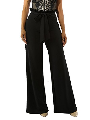 Dreamparis Women's Ruffle Wide Leg Long Pants Solid Flare Palazzo Pants Trousers Belted X-Large Black