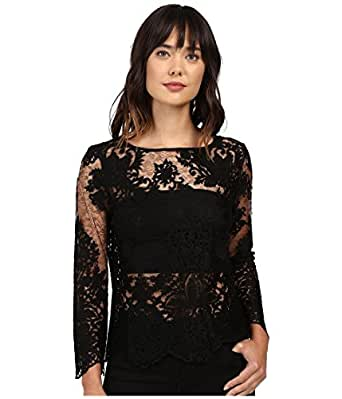 8ebf7c5d7580f Karen Kane Women s Flare Sleeve Embroidered Top Black Shirt at ...