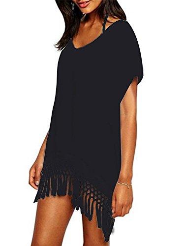 (Yonala Women's Classic Striped Tassel Chiffon Beachwear Bikini Swimwear Cover Up  Black One Size)
