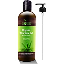 Organic Aloe Vera Gel by Sky Organics 8oz, All Natural Ultra Hydrating Skin Cooling Aloe Gel, Non-Sticky Relief of Sunburns, Razor Burns, Bug Bites- Hair Conditioner & Gel- Cold Pressed, Made in USA