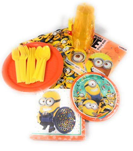 Minion Themed Party (Party Pack for 8 Minion Themed Plates, Napkins, Cups, Flatware, Table Cover, Large Gift)