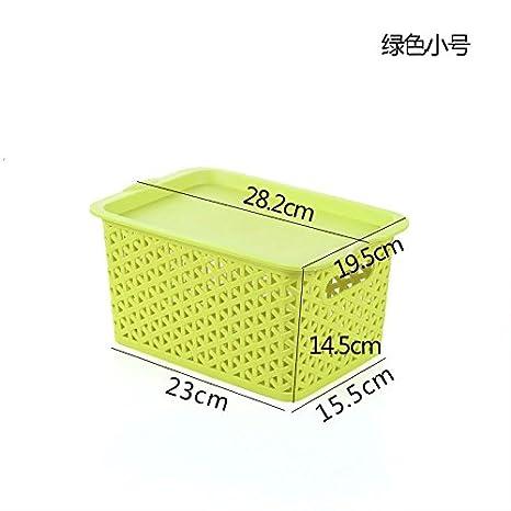 TIANLIANG04 Cajas de almacenaje Hay Una Tapa De Plástico Rectangular De Admisión Cesta Cesta De Mimbre