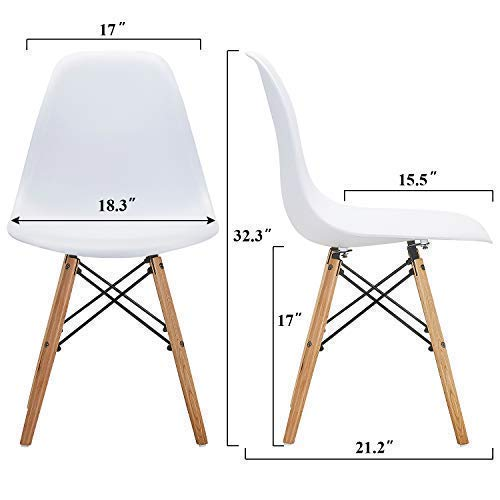 VECELO Mid Century Modern Style Side Chairs with Natural Wood Legs (Set of 4) Easy Assemble for Kitchen Dining, Living Room,Bedroom, Standard, White by VECELO (Image #4)