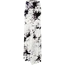 Lock and Love LL Womens Tie Dye Fold Over Maxi Skirt - Made in USA