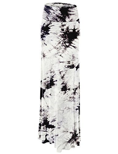 Lock and Love WB1058 Womens Tie Dye Fold Over Maxi Skirt M White_Black ()