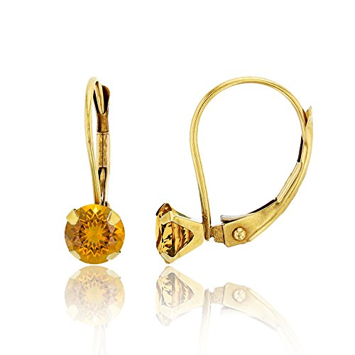 10K Yellow Gold 6mm Round Madeira Citrine Martini Leverback Earring ()