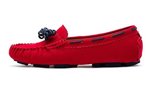 Sunrolan Charlene Vrouwen Faux Lederen Instappers Loafer Flats Geschulpte Huis Mocassin Schoenen Ski Patrouille