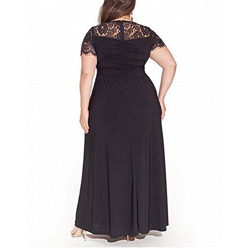 Floral Falda de Moda Talla Negro para Ropa Elegante Verano Maxi Moda Fiesta Top Grande Bolsillo Manga Corta Largo Mujer Suleto Estampada Vestido Iqw0O0