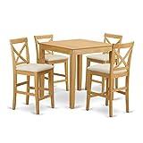 East West Furniture PUBS5-OAK-C 5-Piece Counter Height Table Set, Oak Finish