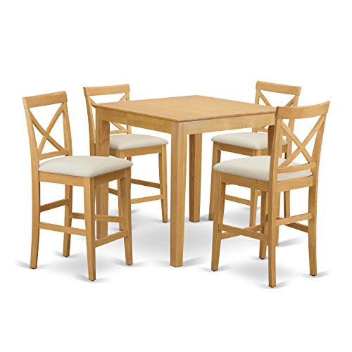 East West Furniture PUBS5-OAK-C 5-Piece Counter Height Table Set, Oak Finish