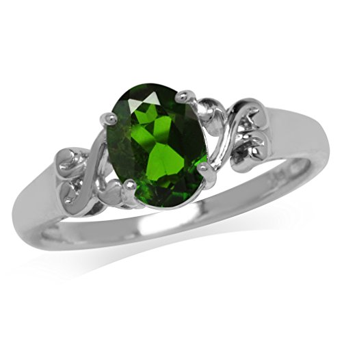 1.15ct. Green Chrome Diopside 925 Sterling Silver Victorian Style Solitaire Ring Size 7