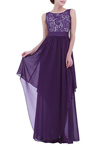 YiZYiF Women's Elegant Sleeveless V-Back Black Lace Bridesmaid Maxi Long Dress (Medium, Dark Purple)