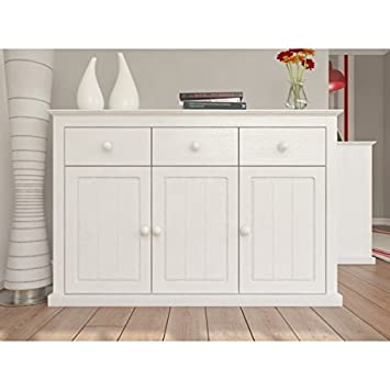 Nicea Select Solid Pine Wood Sideboard In White With 3 Doors And Drawers Living Room