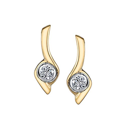 (Sirena 1/5 ct. tw. Round Bezel Set Diamond Earrings in 10K Two-Tone White & Yellow Gold - JSL1660TR5J-10WY)