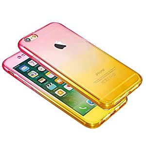 Shockproof 360 Silicone Protective Case Cover For Apple iPhone 7 Plus - 5.5 Inch Pink/Yellow