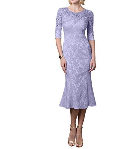 mit Charmant Partykleider Knielang Festlichkleider Etuikleider Lilac Abendkleider Formal Damen Brautmutterkleider Langarm 778BP