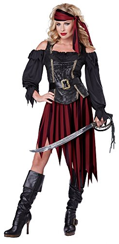 California Costumes Women's Queen Of The High Seas Sexy Pirate Swashbuckler Buccaneer, Black/Burgundy, Large (Pirate Costumes)