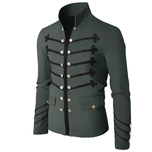 Embroider Gothic Jackets for Men Vintage Stylish Steampunk Victorian Military Uniform Coat Outwear Gray