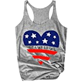 TOTOD 2019 New Tops ! Women Sleeveless National Flag Letter Print Shirt Loose Tank Gray