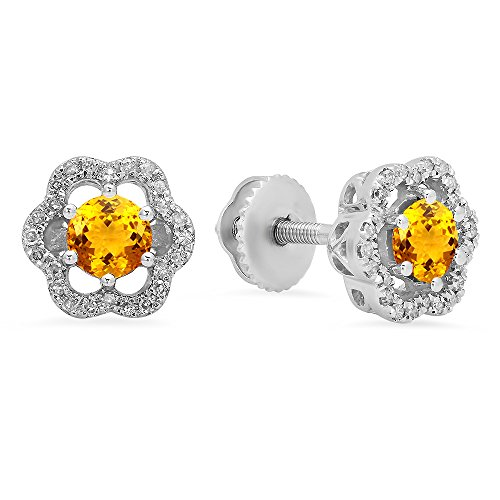 Citrine & White Diamond Ladies Cluster Fashion Stud Earrings (Citrine And Diamond Earrings)
