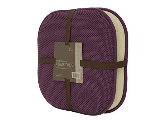 GoodGram 2 Pack Non Slip Ultra Comfort Memory Foam Chair Pads - Assorted Colors (Purple)