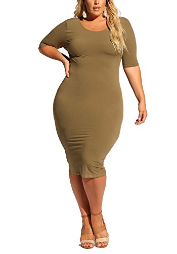 Plus Bodycon Jersey Womens Knit Olive Dress Debshops Size OnfxHwBqf6