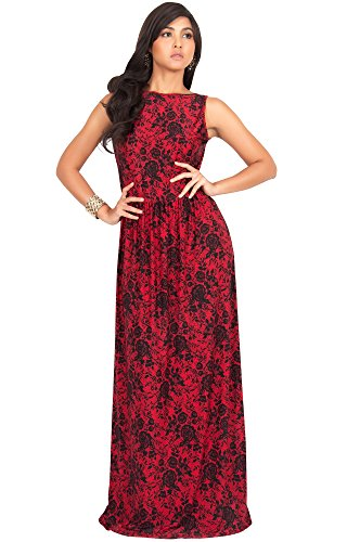 KOH KOH Women Long Sleeveless Vintage Floral Lace Printed Spring Summer Hawaiian Cocktail Party Formal Casual Long Gown Gowns Maxi Dress Dresses, Red and Black M 8-10 Modest Lace