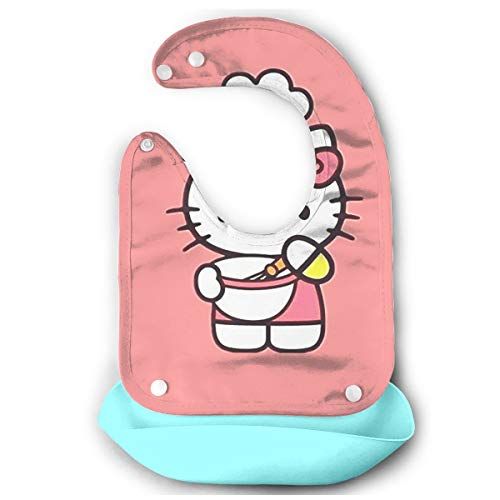 Baby Bib Hello Kitty Cooking Waterproof Feeding Bibs for Babies and Toddlers with Comfort-Fit Fabric Neck Sky Blue ()