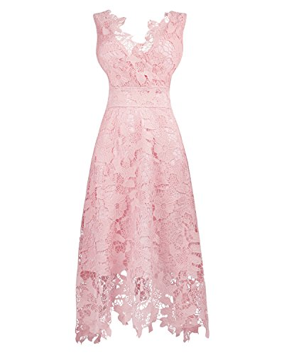Elegant Pink Lace (KIMILILY Women's Pink V Neck Elegant Floral Lace Prom Cocktail Dress (L))