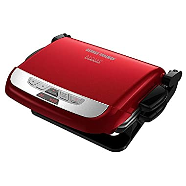 George Foreman GRP4800R 4-in-1 Multi-Plate Evolve Grill, Electric Grill, (Panini Press, Grilling, Baking, and Cupcake Plates Included), Red