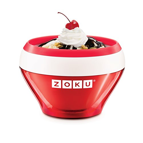 Zoku Ice Cream Maker, Compact Make and Serve Bowl with Stainless Steel Freezer Core Creates Soft Serve, Frozen Yogurt, Ice Cream and More in Minutes, BPA-free, 6 Colors, Red