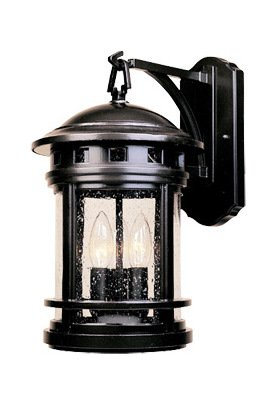 Oil Rubbed Bronze w/seedy 3 Light 9in. Cast Aluminum Wall Lantern from the Sedona Collection