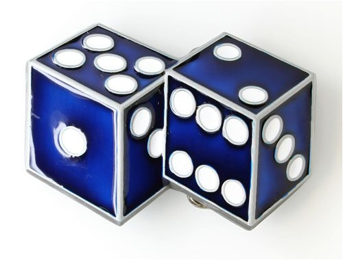 Two Dice Belt Buckle - Blue - Dice Belt Buckle