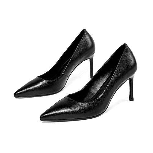 AJUNR Moda/elegante/Transpirable/Sandalias Zapatos de mujer zapatos señaló delgada poco profundo negro de 8 cm de tacon alto Treinta y nueve 36