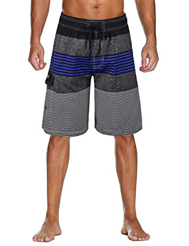 Unitop Men's Quick Dry Striped Print Swim Trunk