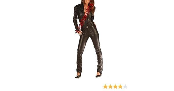 c1c7551430c Amazon.com  Skin Tight Suit Black Leather Catsuit Jumpsuit Tight 1235   Clothing