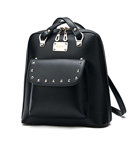DOODOO new casual shoulder bag female Korean tidal College Wind rivets pu leather travel bag female ()