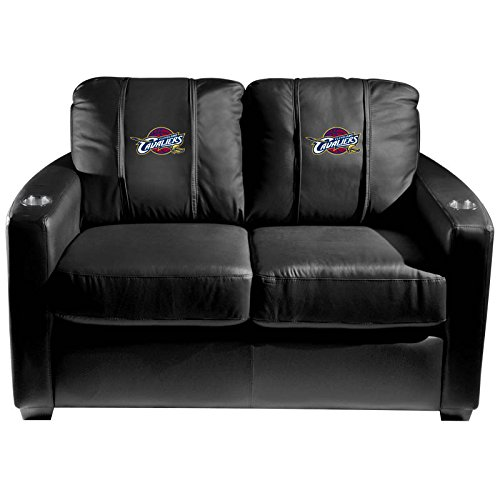 XZipit NBA Silver Loveseat with Cleveland Cavaliers Logo Panel, Black