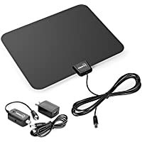 ViewTV 50 Mile Flat HD Digital Indoor Amplified TV Antenna - Detachable Amplifier Signal Booster - 12ft Coax Cable - Black