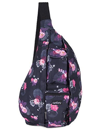 23e2c7bb55 Ambry Rope Sling Bag - Canvas with Adjustable Shoulder Strap - Compact  Backpack for Women That